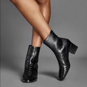 Tamara Mellon Croc stamped leather ankle boots